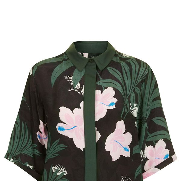 Topshop Boutique Jungle Contrast Shirt