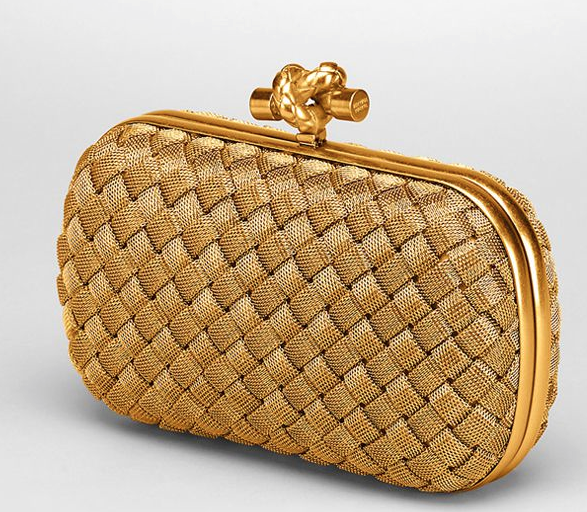 Bottega Veneta Intreccio Oro Bruciato Knit Clutch