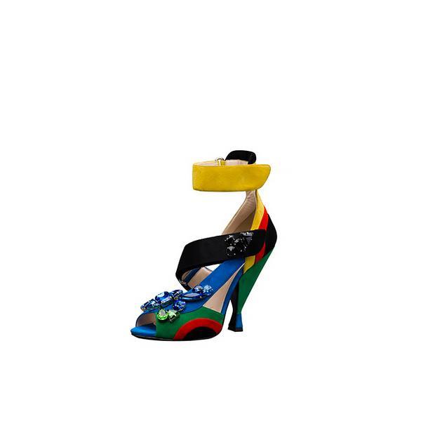 Prada Embellished Asymmetric Suede Sandal