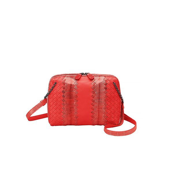 Bottega Veneta Intrecciato Nappa Ayers Messenger Bag in Red
