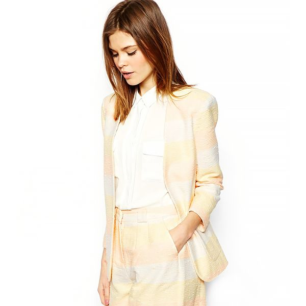 ASOS Blazer in Metallic Pastel Stripe