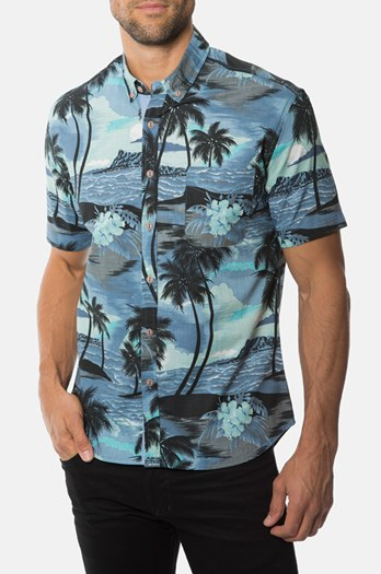 7 Diamonds Diamond Head Print Short Sleeve Sport Shirt