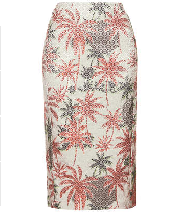 Topshop Palm Jacquard Pencil Skirt