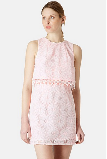 Topshop Lace Tiered Shift Dress