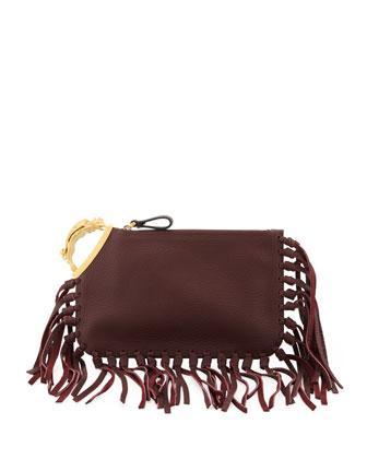 Valentino Gryphon Finger-Fringe Clutch Bag