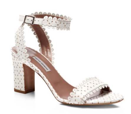 Tabitha Simmons Scalloped-Leather Block-Heel Sandals