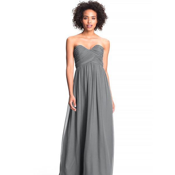 Donna Morgan Laura Ruched Sweetheart Silk Chiffon Gown
