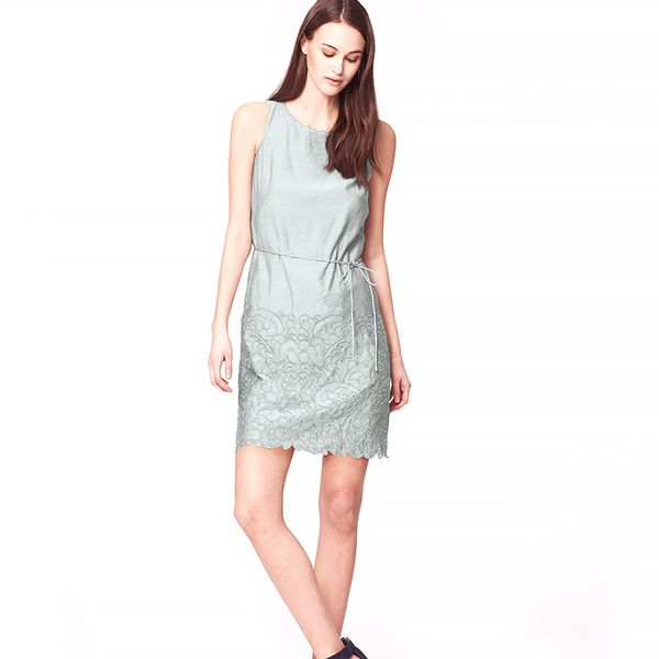 LOFT Scalloped Embroidered Shift Dress