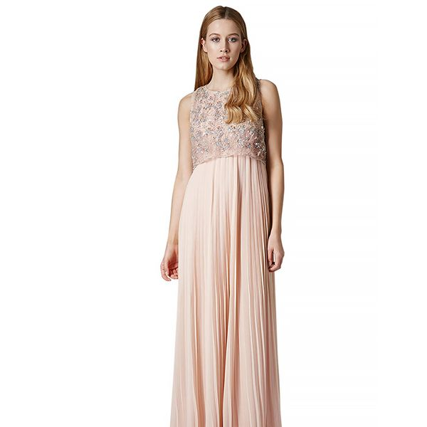 Topshop Limited Edition Pleated Embellished Maxi Dress