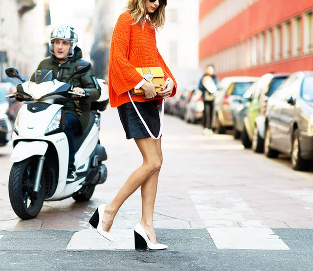 Bright Sweater + Mini Skirt