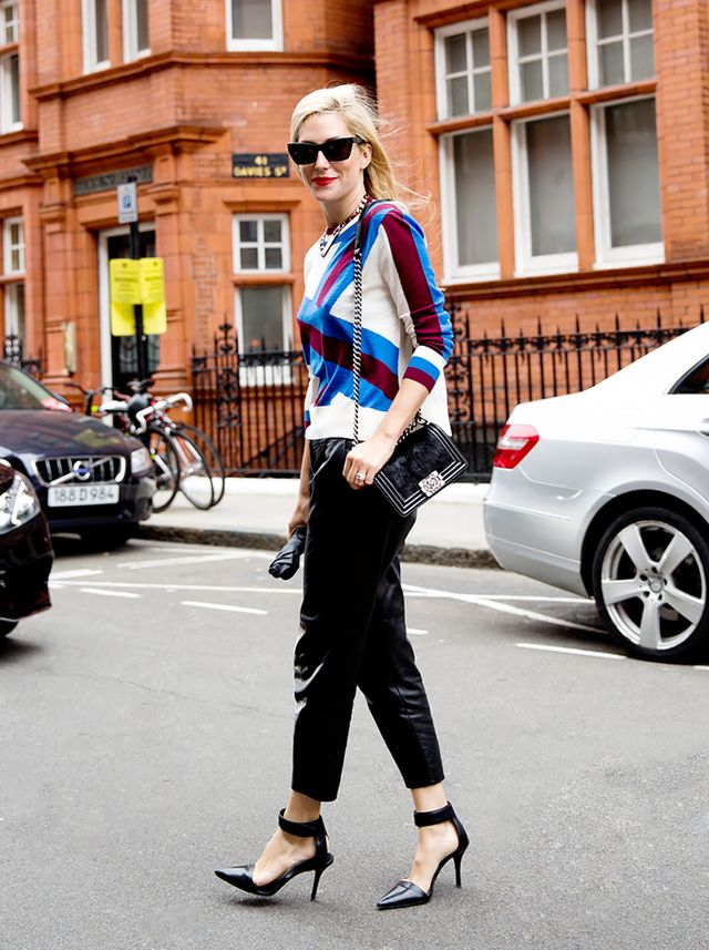 Graphic Sweater + Loose Leather Trousers