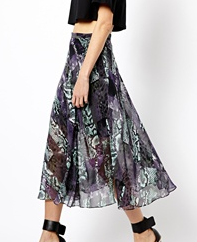 Warehouse Snake Print Midi Skirt