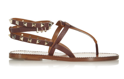 Valentino Studded Textured-Leather Sandals