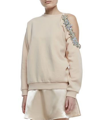 Christopher Kane Cutaway Bejeweled Sweatshirt