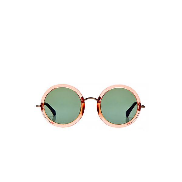 Linda Farrow + The Row Round Oversized Acetate Sunglasses