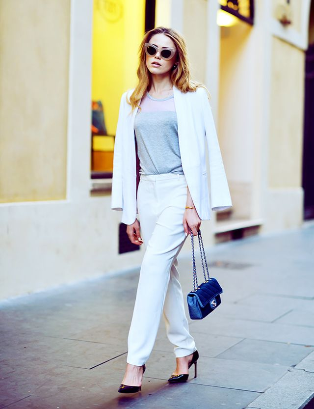 Who says a suit top and bottom have to match? A palette of white and cream is a fresh take on the oft-staid suit.