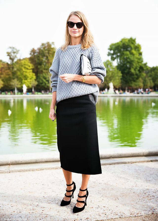 While a traditional pencil skirt will always do the trick, the most fashion-forward silhouette of the moment is a slim midi.