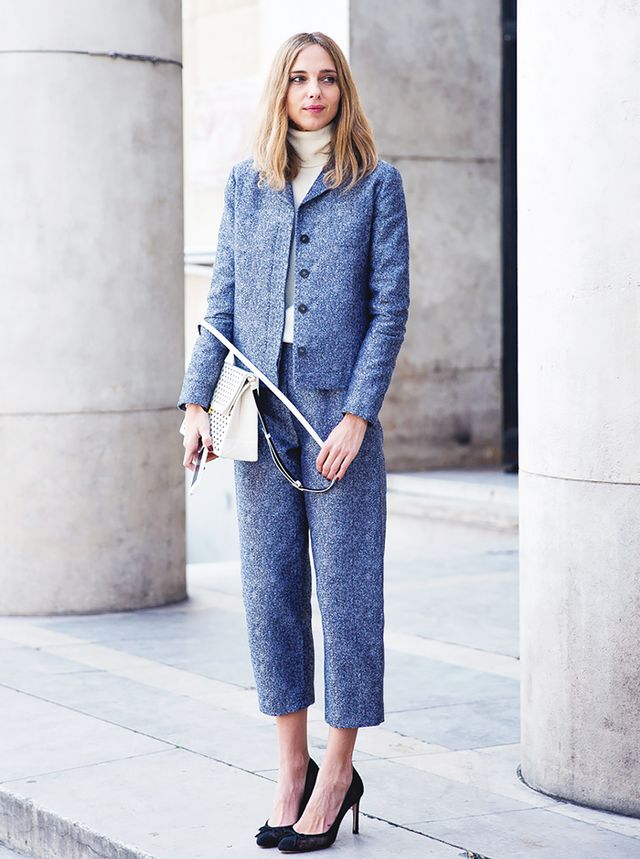 You can never go wrong with a smart suit. Just make sure it has a fashion-conscious silhouette, such as cropped pants.