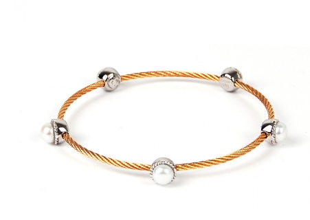 Charriol Bronze Cable Pearl Bangle