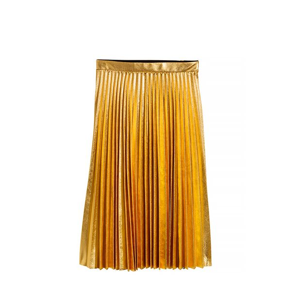 H&M H&M Pleated Skirt in Gold