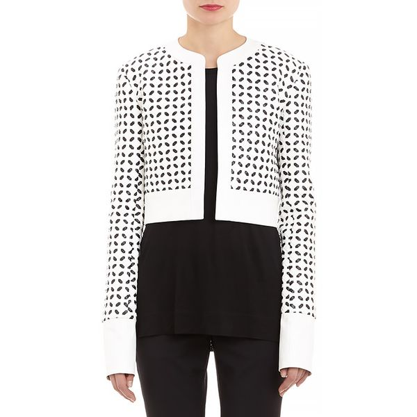 Edun Geometric-Weave Faux Leather Jacket