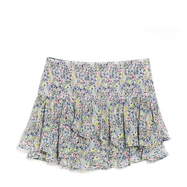 Mango Ruffled Floral Miniskirt