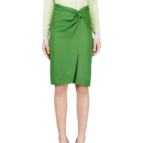 Cedric Charlier Green Wrap Pencil Skirt