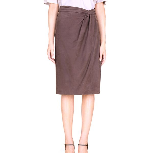 Gucci Dark Brown Leather Skirt