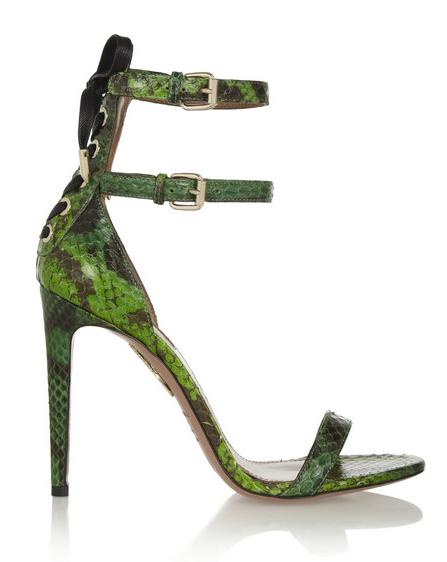 Aquazzura Saharienne Glossed-Elaphe Sandals