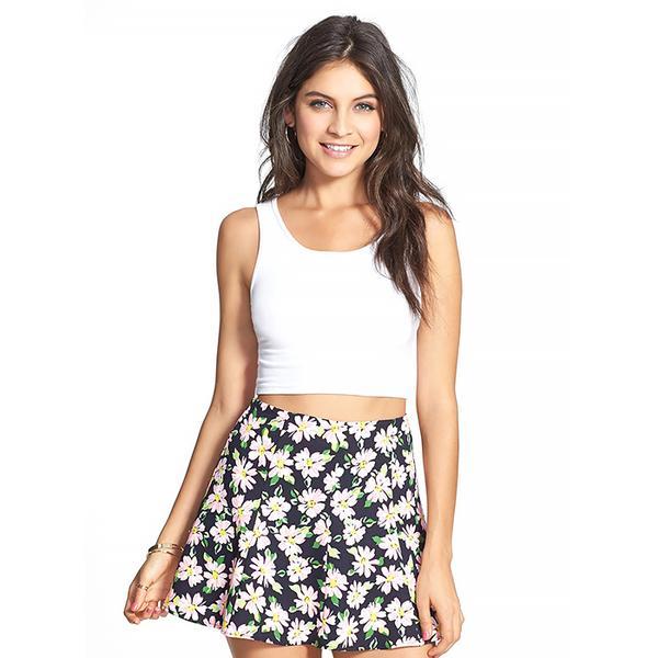 Lush Print Flared Skirt