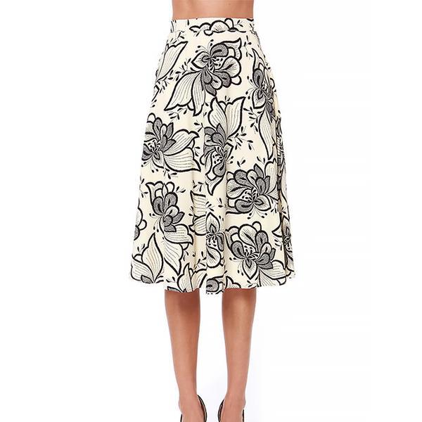 Lulu's Garden Show Floral Print Midi Skirt