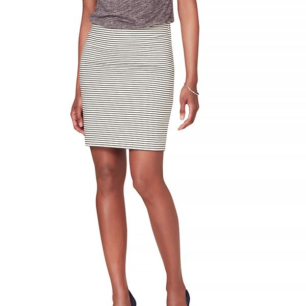 LOFT Striped Elastic Waist Skirt