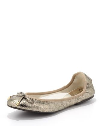 MICHAEL Michael Kors City Crackled Metallic Ballet Flats