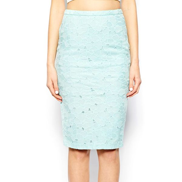 Warehouse Lace Pencil Skirt