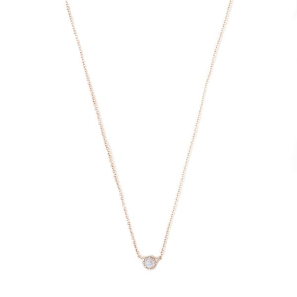 Grace Lee Petite Moonstone Crown Bezel Necklace