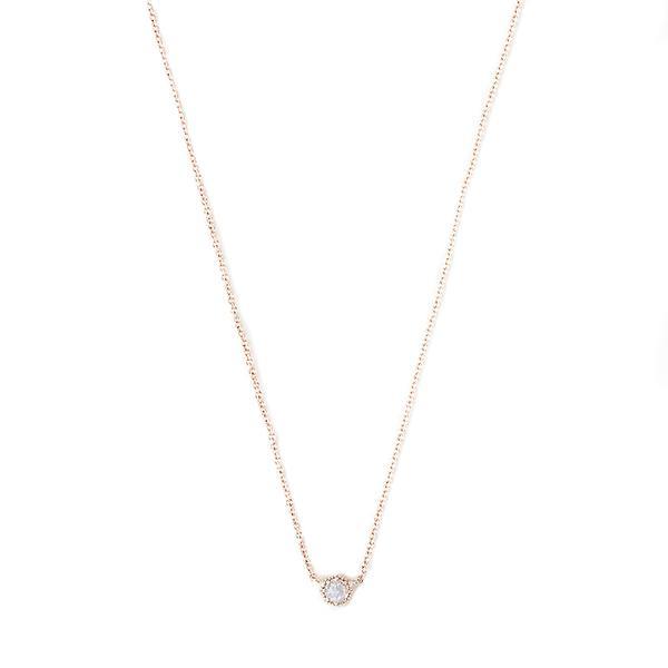 Grace Lee Petite Moonstone Crown Bezel Necklace