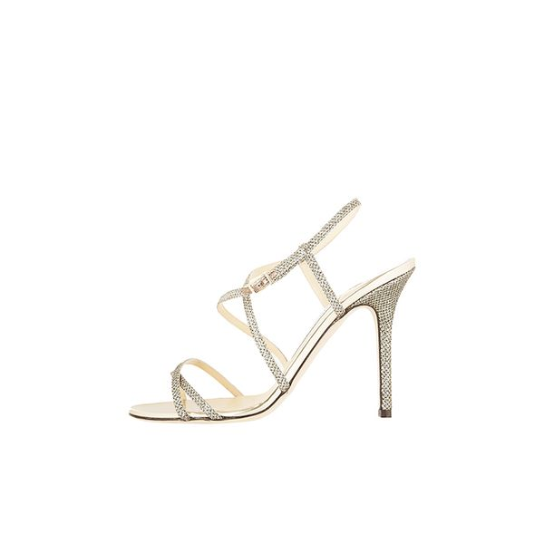 Jimmy Choo Issey Glitter-Finished Leather Sandals