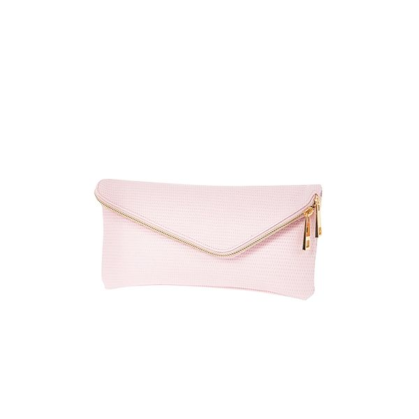 River Island Light Pink Textured Asymmetric Zip Clutch Bag