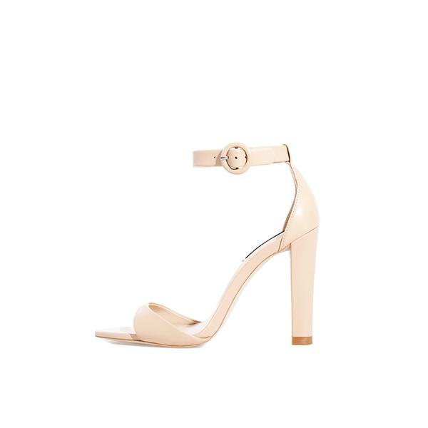 Zara Leather Wide Heel Sandals
