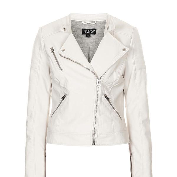 Topshop Collarless Faux Leather Biker Jacket