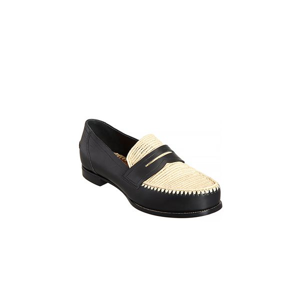 Bottega Veneta Bottega Veneta Straw-Detailed Penny Loafer