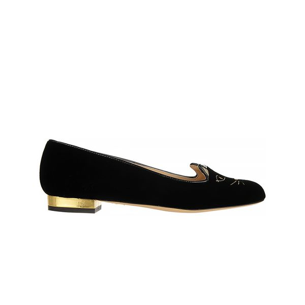 Charlotte Olympia Charlotte Olympia Kitty Embroidered Velvet Slippers