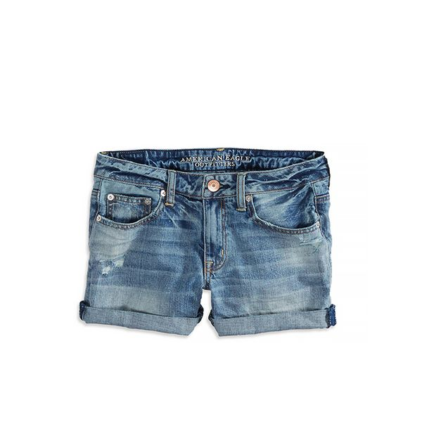 American Eagle American Eagle Boy Midi, Medium Wash Denim Shorts