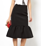 ASOS Premium Pencil Skirt In Scuba With Peplum Hem