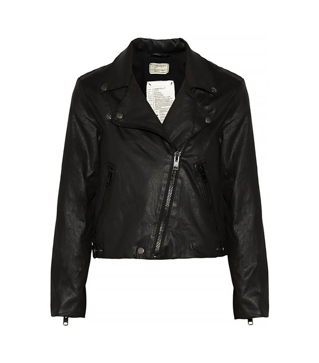 Even girly girls pull off the tough jacket with ease. It's the topper that looks good on anyone for almost any occasion.  Current/Elliott The Soho Coated Cotton-Blend Biker Jacket ($166)
