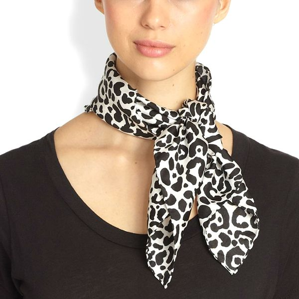 Mantero for Saks Fifth Avenue Leopard Spot Silk Scarf
