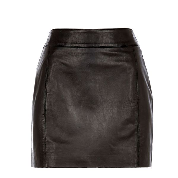River Island Black Leather Mini Skirt