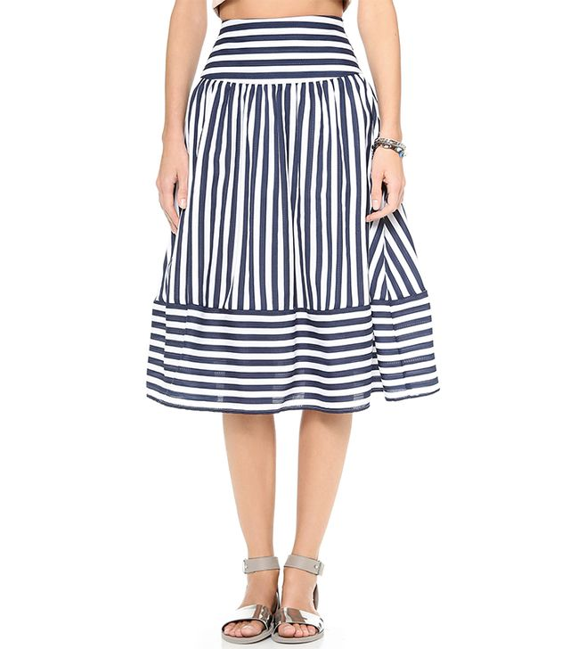 Midi skirts aren't going anywhere for spring, and since the trend was practically made for your body type, we recommend you strike while the iron is hot with this striped version.