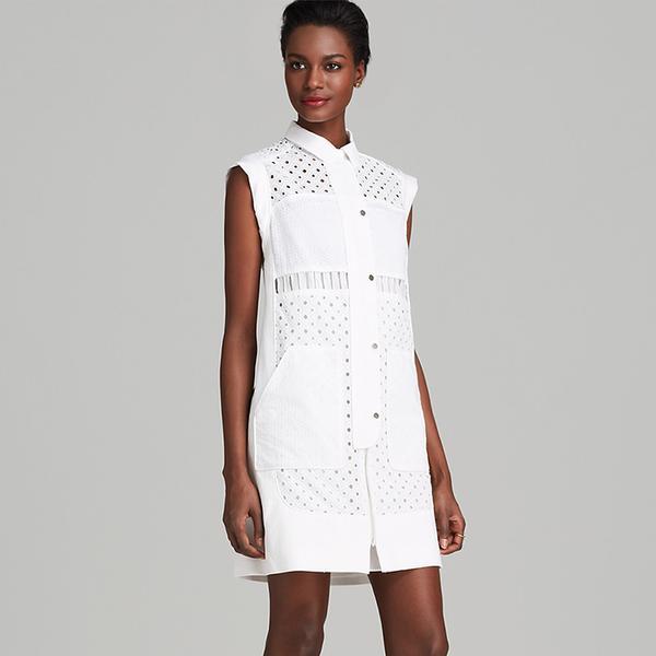 Rebecca Taylor Cap Sleeve Eyelet Shirt Dress