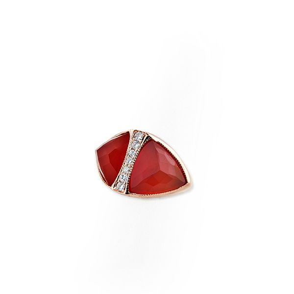 Jacquie Aiche 14K Gold, Diamond, and Carnelian Double Pyramid Triangle Ring